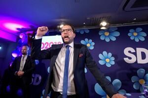 Sweden Democrats party leader Jimmie Akesson speaks on election evening at Kristallen restaurant in central Stockholm, Sweden September 9, 2018.