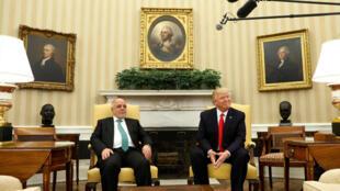 El Primer ministro iraquí, Aider al-Abadi y el presidente Donald Trump durante su encuentro en la Casa Blanca, 20 marzo 2017