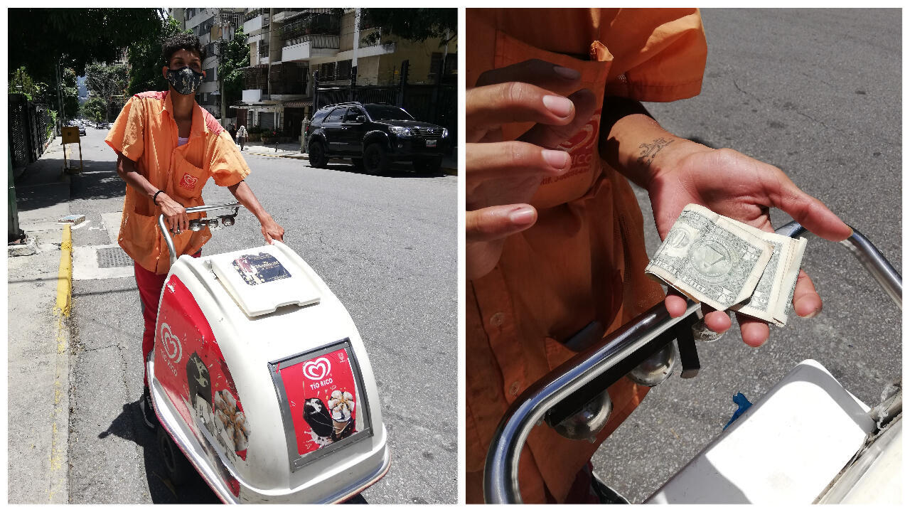 Miguel Pérez circula pelas ruas da capital Caracas empurrando um carrinho de sorvete. Ele conta que boa parte das vendas são feitas em dólares. O preço da mercadoria varia entre U$2 e U$3,50.