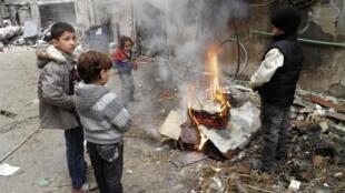 Niños en la ciudad de Homs.
