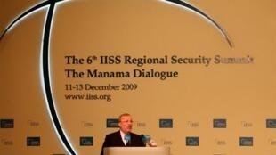 Le ministre iranien des Affaires étrangères Manouchehr Mottaki, lors de son allocution à la 6e conférence sur la sécurité à Manama, le 12 décembre 2009.