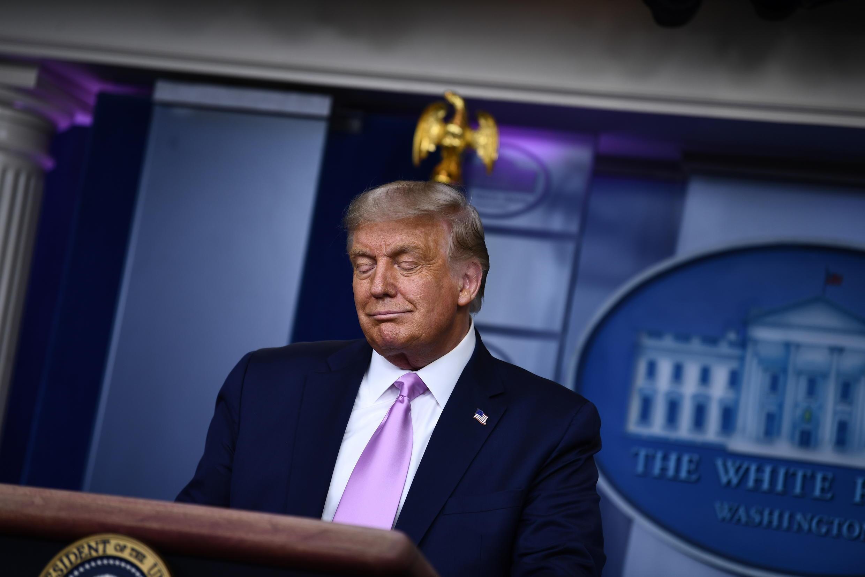 El presidente de EEUU, Donald Trump, en un anuncio sobre un acuerdo para vacunas contra el coronavirus, el 11 de agosto de 2020 en el Casa Blanca.