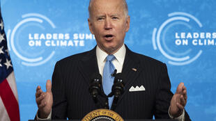 US President Joe Biden delivers remarks on the second day fo a virtual climate summit at the White House