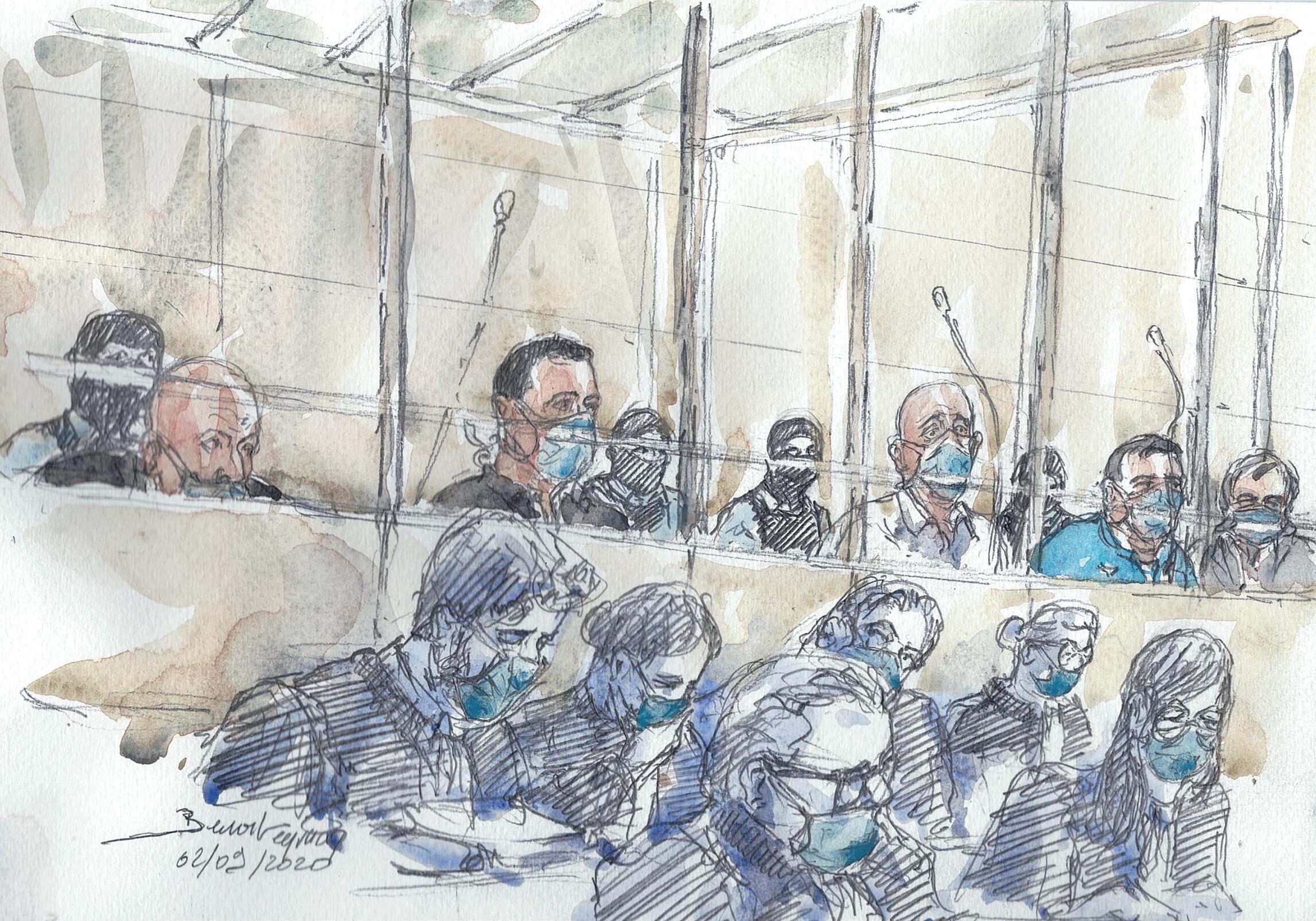 Dessin représentant les quatorze accusés et leurs avocats, le premier jour du procès des attentats de janvier 2015.