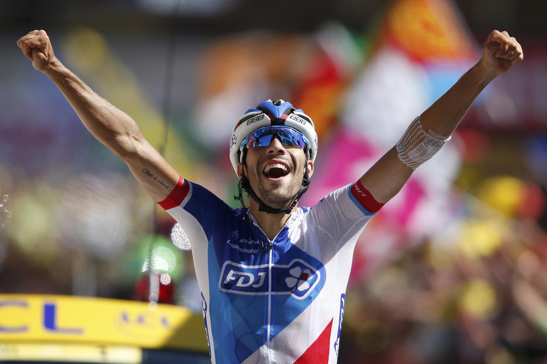 Thibaut Pinot, ciclista da FDJ, que venceu a vigésima etapa da Volta a França em biciceta.