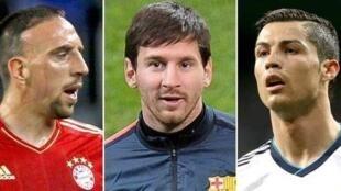 Nyota wa soka barani Ulaya Lionel Messi, Cristiano Ronaldo na Franck Ribery