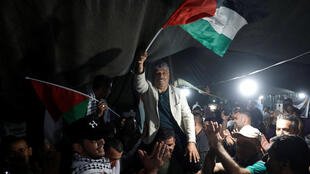 Manifestation de joie en Cisjordanie, le 21 octobre 2018, après l'annonce de la suspension du projet de démolition du village bédouin de Khan al-Ahmar.