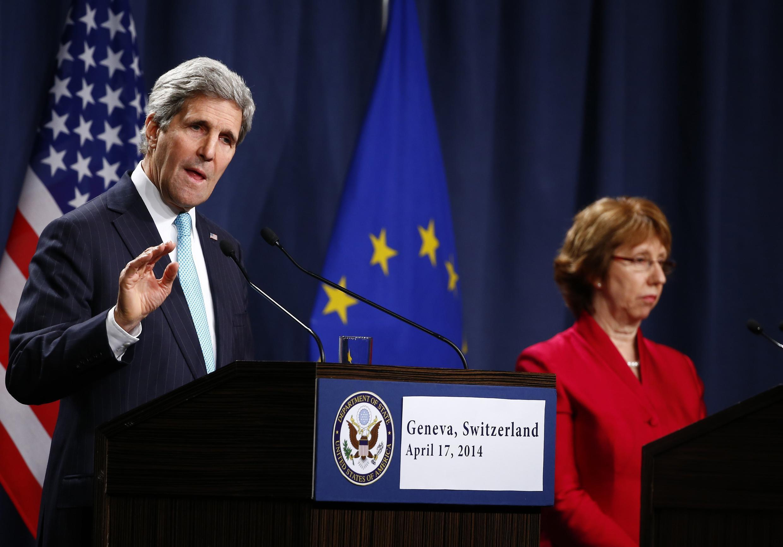 Джон Керри и Кэтрин Эштон на пресс-конференции по завершении переговоров по Украине в Женеве