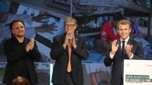 Shugaban Faransa Emmanuel Macron tare da Bill Gate a taron yaki da cututtuka a birnin Lyon
