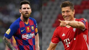 Lionel Messi (FC Barcelone) et Robert Lewandowski (Bayern Munich).