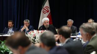 حسن روحانی، رییس جمهوری ایران  در ملاقات با مدیران شرکت های تجاری، صنعتی و اقتصادی آمریکا در نیویورک