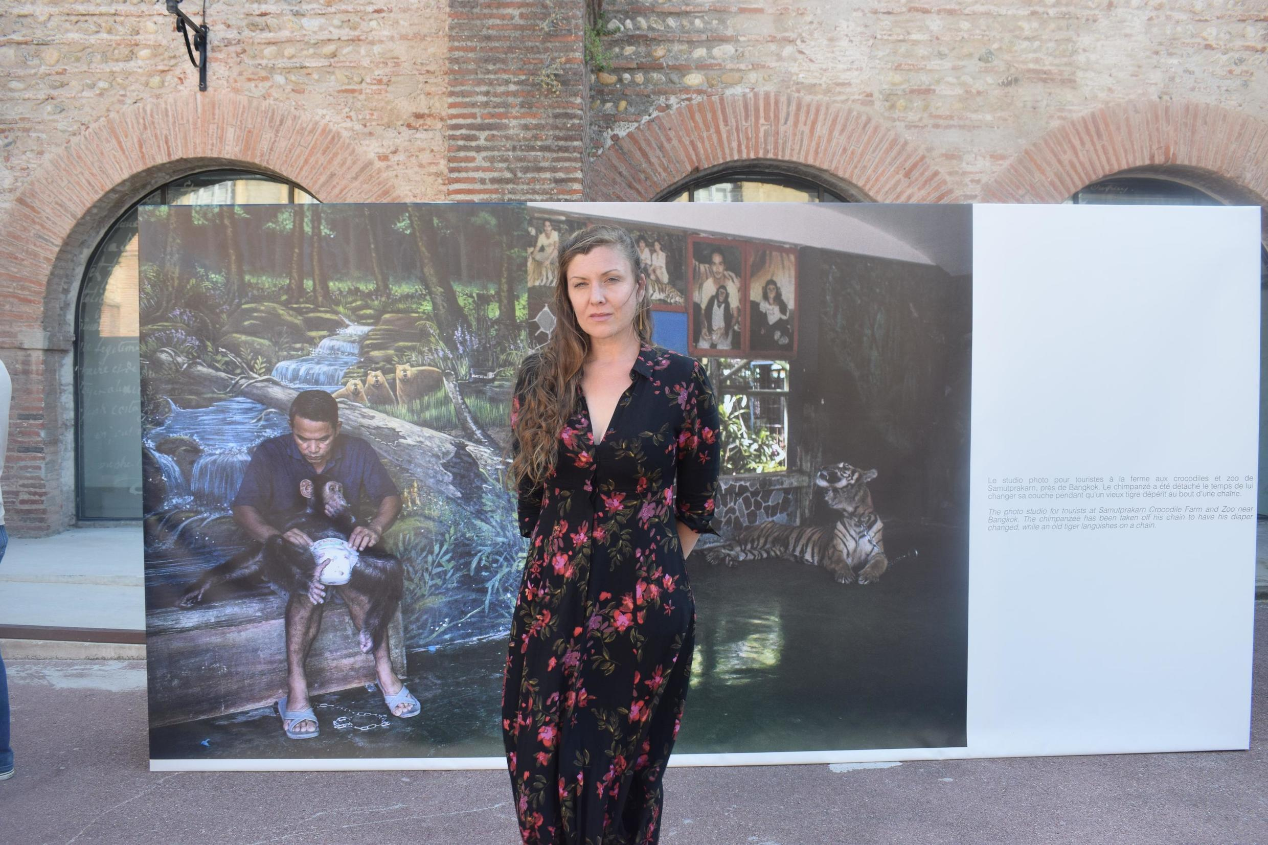 Kirsten Luce at her photo exposition 'the dark side of wild life tourism' in Perpignan, September 5, 2019