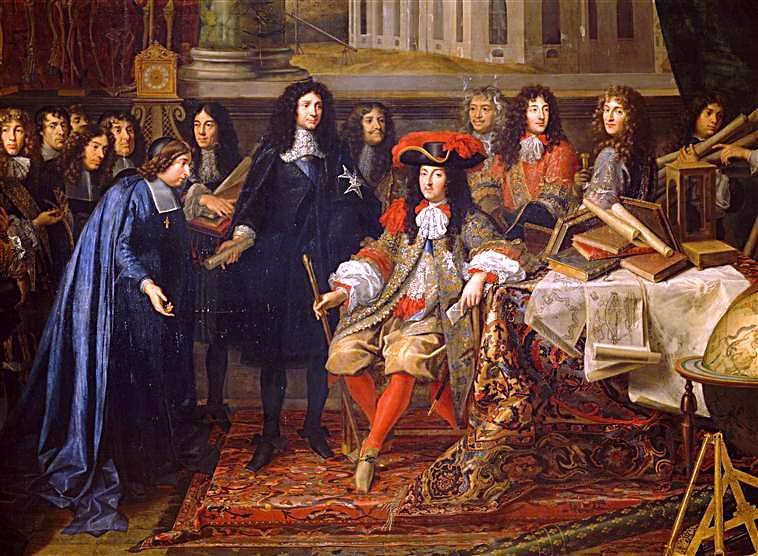 រូបគំនូរបង្ហាញពីស្តេចល្វីស ទី១៤ (Louis XIV) ទទួលជួបសមាជិករាជបណ្ឌិតសភាវិទ្យាសាស្រ្តបារាំង នៅឆ្នាំ១៦៦៧