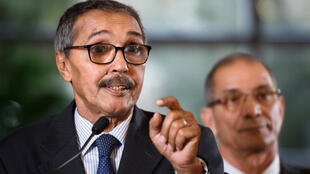 Leader of the Sahrawi delegation and Frente Polisario Khatri Addouh at press briefing after 2 days of UN-brokered talks