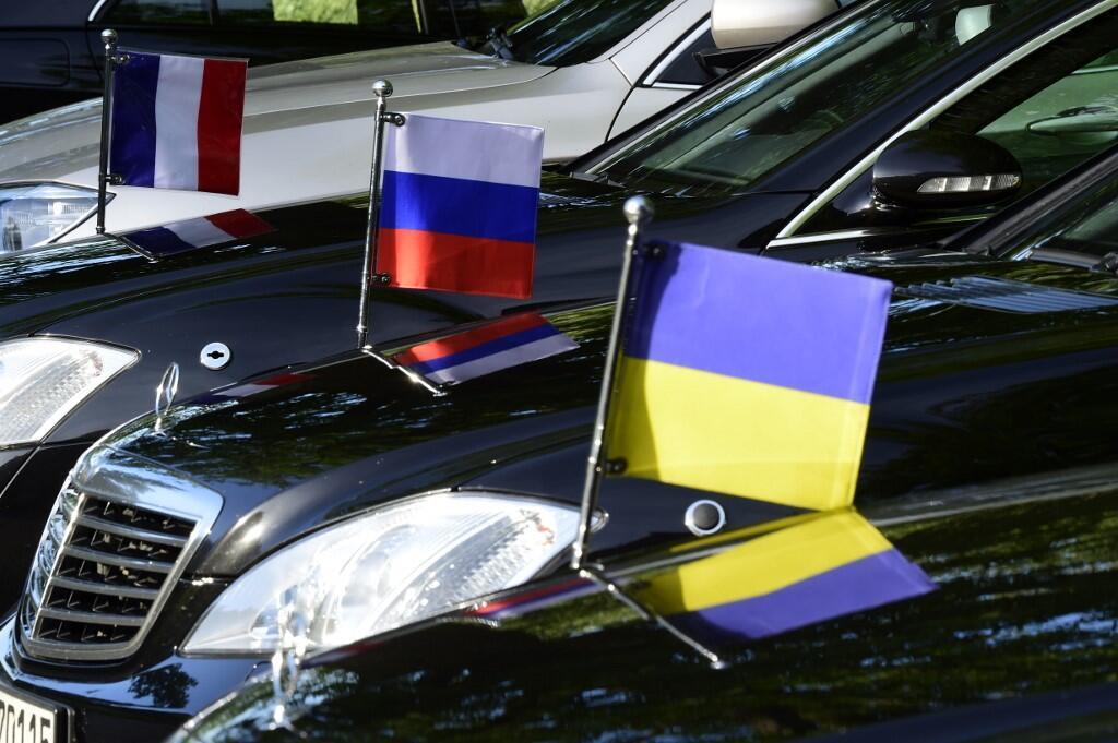 法国,德国,俄罗斯,乌克兰国旗于2018年首版诺曼底四国峰会。