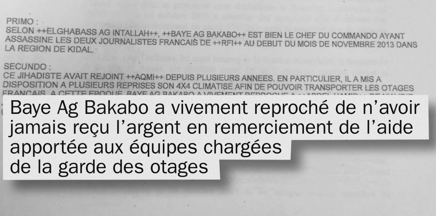 Extrait de la note confidentielle des renseignements militaires français produite dans le document diffusé jeudi 26 janvier dans Envoyé Spécial.