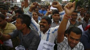 Des manifestants massociés aux Madhesis manifestent contre le projet de Constitution à Katmandou, le 19 septembre.