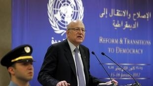 Lebanon's Prime Minister Najeeb Mikati speaks during the Reform and Transitions to Democracy conference in Beirut