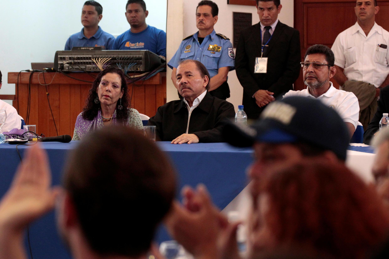 Le président du Nicaragua, Daniel Ortega, et sa vice-présidente et compagne Rosario Murillo, le 16 mai 2018 à Managua.