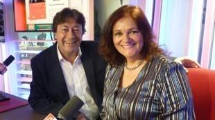 Gloria Bernal con Jordi Batallé en el estudio 151 de RFI