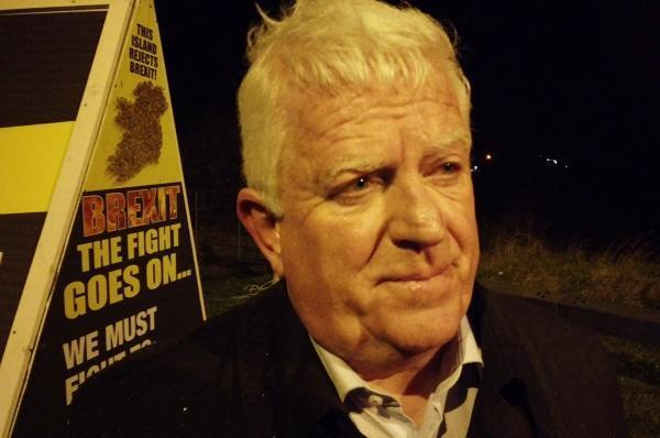 Declan Fearon, chairperson of the Border Communities Against Brexit at a protest rally on the night before Brexit on the border crossing between Jonesborough in Northern Ireland and Carrickarnon in the Irish Republic. January 31, 2020.