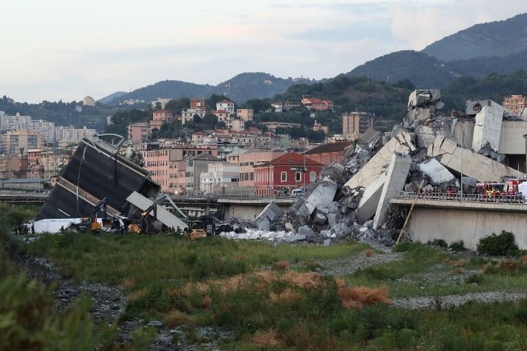 The collapsed Genoa bridge