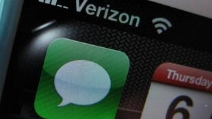 El logo de Verizon en un móvil de California.