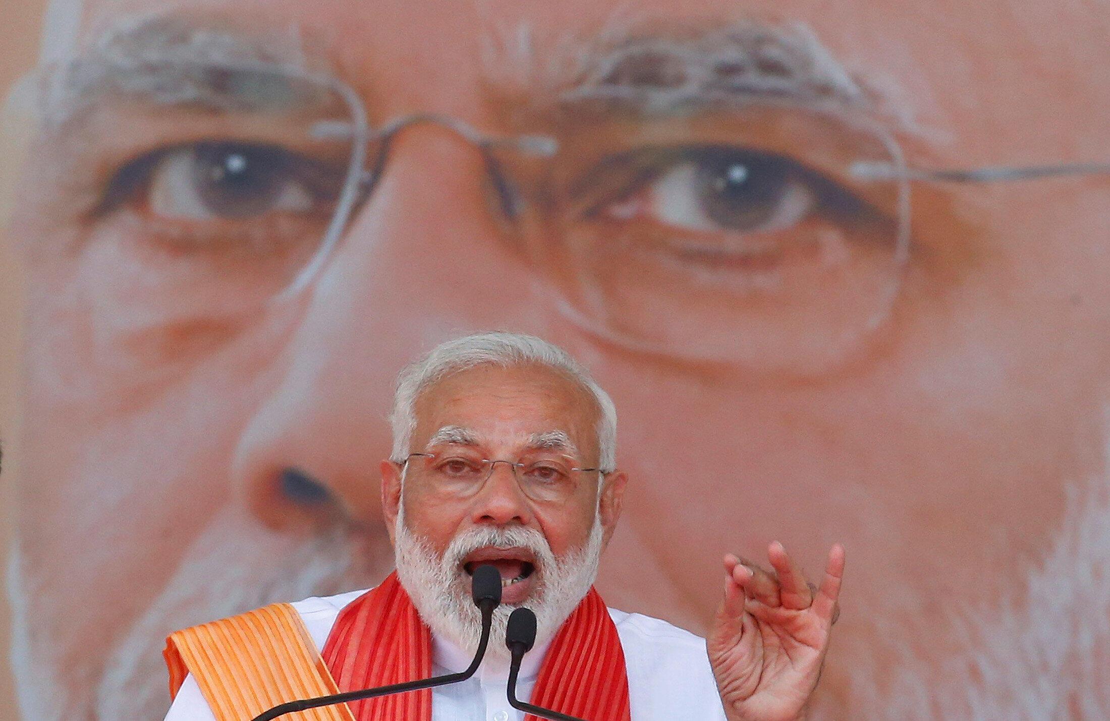 印度總理莫迪在拉票集會上講話