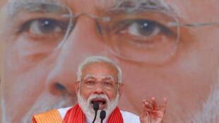 印度总理莫迪在拉票集会上讲话