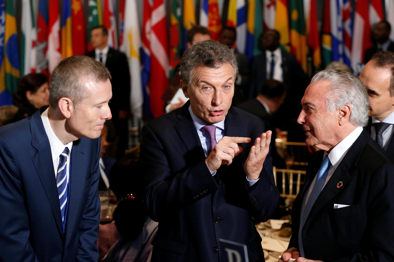 Presidente da Argentina, Mauricio Macri, com o presidente Michel Temer durante um almoço na Assembleia Geral das Nações Unidas.20/09/16