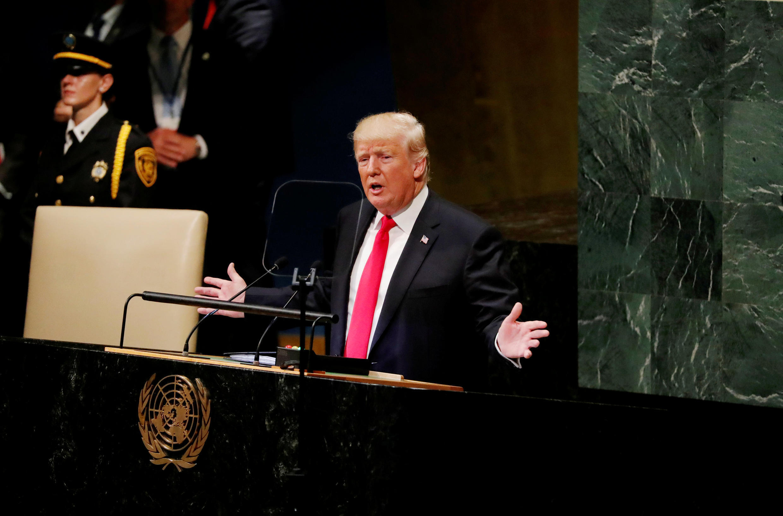 Rais wa Marekani  Donald Trump akihotubia Mkutano Mkuu wa Umoja wa Mataifa