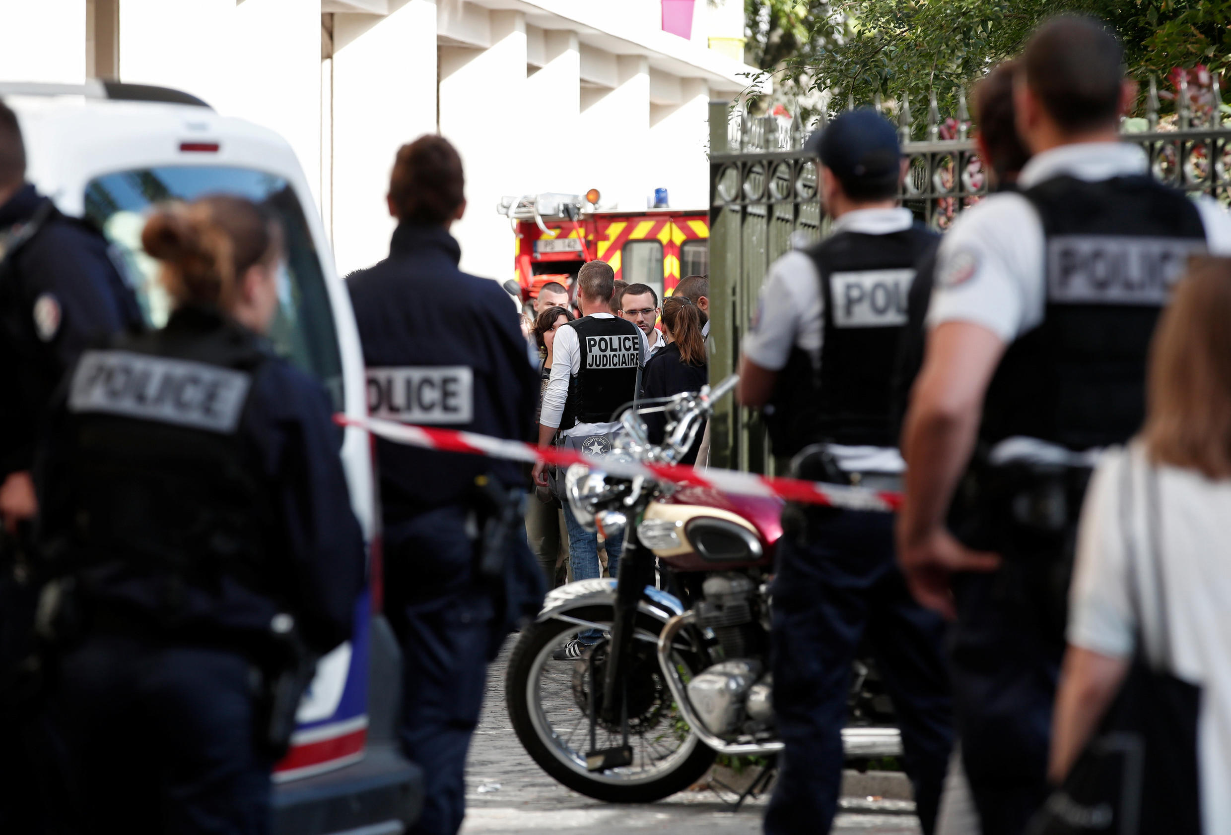 Police secure the scene where French soliders were hit and injured by a vehicle in the western Paris suburb of Levallois-Perret, France, August 9, 2017.
