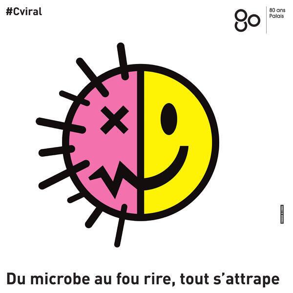 Afiche de la muestra 'VIRAL' en el Palais de la Découverte, en París.