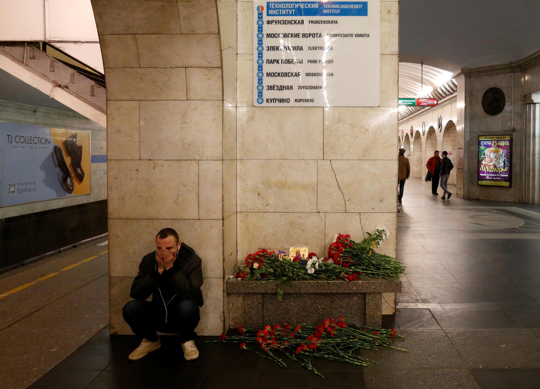 Trạm xe điện ngầm Tekhnologicheskiy Institut ở Saint-Pétersbourg, ngày 04/04/2017.
