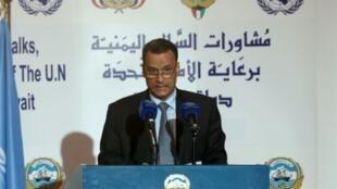 Ismail Ould Cheikh Ahmed, Mjumbe Maalum wa Umoja wa Mataifa nchini Yemen, wakati wa mkutano na waandishi wa habari mjini Kuwait Aprili 26, 2016.