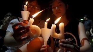 香港維多利亞公園舉行紀念六四26周年燭光晚會
