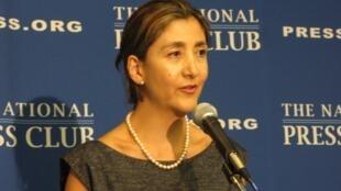 Ingrid Betancourt habló en Washington ante la prensa, el 22 de septiembre.