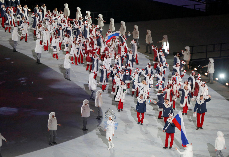 Tawagar 'yan wasan Olympics na Rasha karakshin Jagorancin Alexander Zubkov a shekarar 2014.