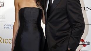 George Clooney chega com a noiva Amal Alamuddin para uma noite de gala beneficiente em Florença (7/9/14).