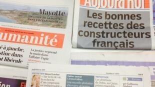 Primeiras páginas dos diários franceses de 19/02/2014
