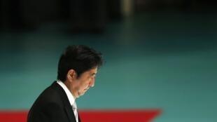 Primeiro-ministro japonês durante a cerimônia de comemoração da capitulação japonesa, nesta quinta-feira, 15 de agosto de 2013.