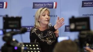 Marine Le Pen at her presidential convention in Lille