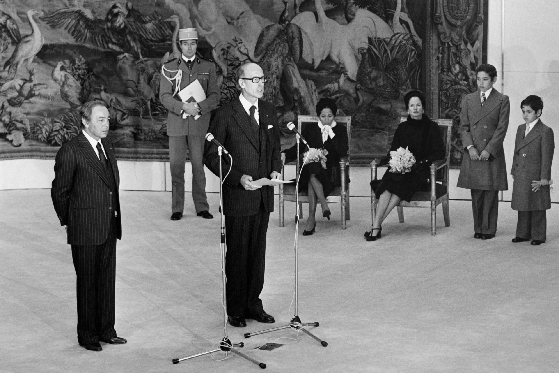 Photo de la visite d'Etat d'Hassan II en France en novembre 1976. Hassan II et  président français Giscard d'Estaing.