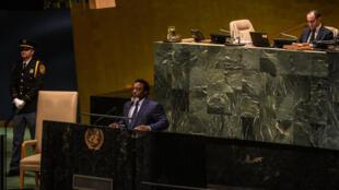 Le président congolais Joseph Kabila, le 25 septembre à la tribune de l'Assemblée générale des Nations unies à New York.