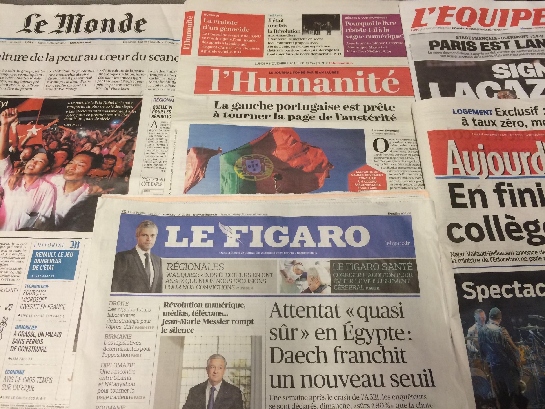 Primeiras páginas dos diários franceses de 09/11/2015