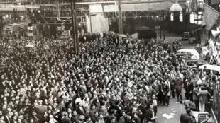 Le site de Renault-Billancourt le 17 mai 1968 lors du vote de la grève reconductible.