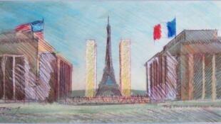 Projeto das Torres Gêmeas que serão instaladas no Trocadéro, em Paris.