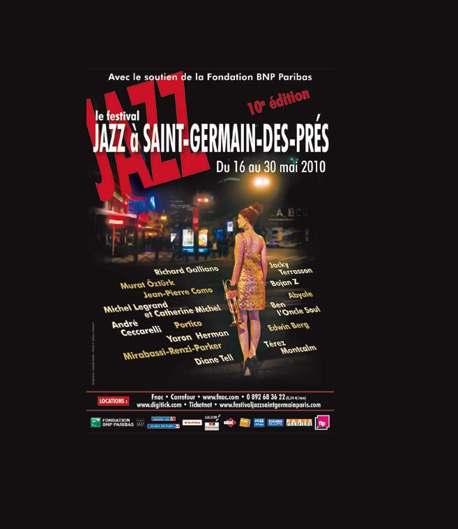 """Cartaz do festival """"Jazz em Saint-Germain des Prés"""""""