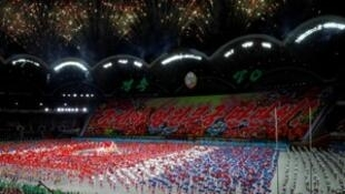 Fireworks explode during the Mass Games at May Day stadium marking the 70th anniversary of North Korea's foundation in Pyongyang, North Korea, September 9, 2018.
