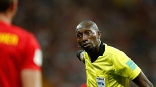 Malang Diedhiou, arbitre international sénégalais, lors de la rencontre entre la Belgique et le Japon, le 2 juillet 2018.